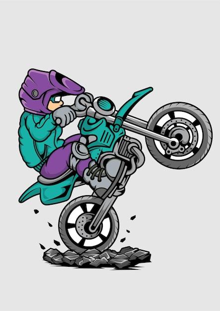 Illustrazione disegnata a mano di kid motocrosser Vettore Premium