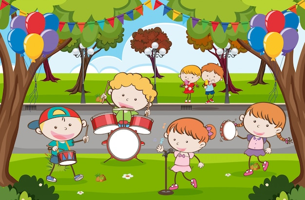 Kid music band in un parco Vettore Premium