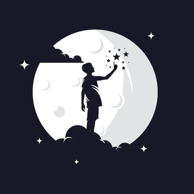 Siluetta di raggiungimento delle stelle del bambino contro la luna Vettore Premium