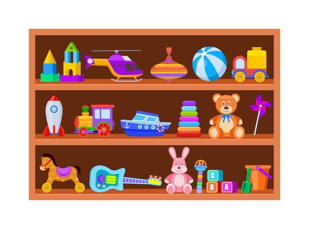 Giocattoli per bambini sugli scaffali. giocattolo per bambini sullo scaffale del negozio in legno nella sala giochi. insieme di vettore dell'annata del fumetto palla e treno, trottola e chitarra. mensola illustrativa con giochi per bambini, sonaglio e blocco Vettore Premium
