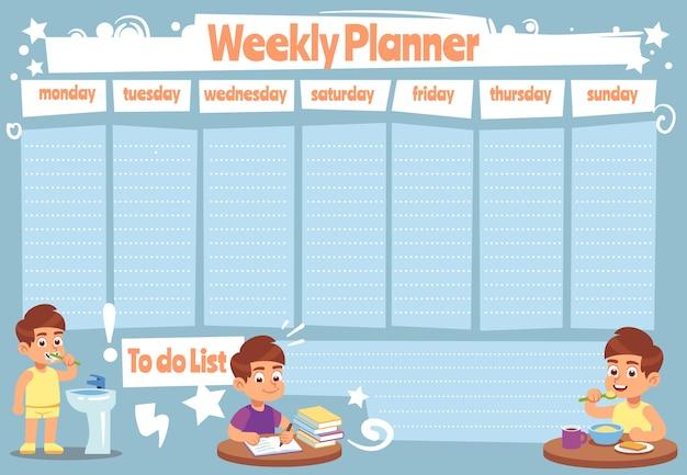Agenda settimanale per bambini. bambini carino settimane di calendario per fare l'elenco delle note del modello giornaliero di docce adesive del programma scolastico Vettore Premium