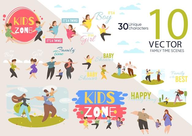 Set di caratteri animati carino costruzione di kid zone Vettore Premium