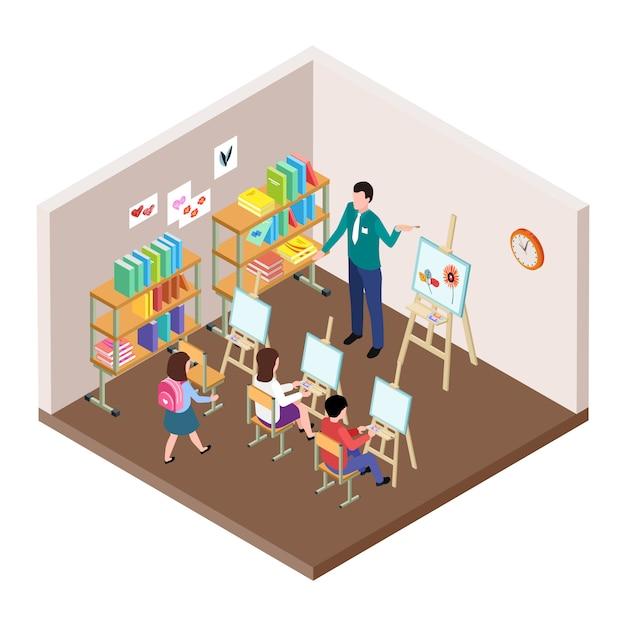 Illustrazione di vettore di studio d'arte per bambini. Vettore Premium