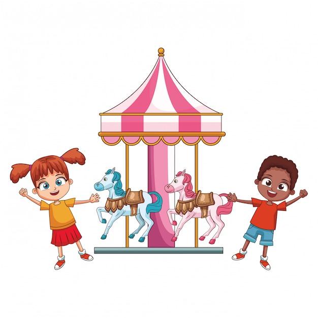 Bambini su cartoni giostra Vettore Premium