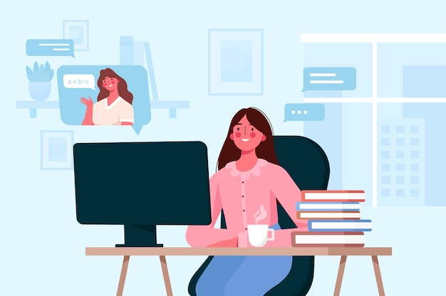 I personaggi dei bambini imparano a distanza. ragazza seduta alla scrivania, guardando lo schermo del computer e studiando l'istruzione a distanza in linea. istruzione domiciliare da tutor o insegnante online. Vettore Premium