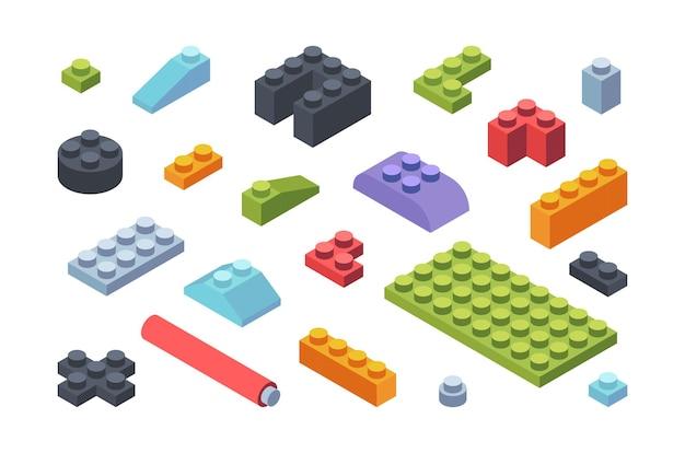 Set di blocchi isometrici costruttore di bambini. piastrelle multicolori e parti di assemblaggio di modelli di giocattoli strisce geometriche varie forme larghe strette costruttore di sviluppo per bambini. Vettore Premium