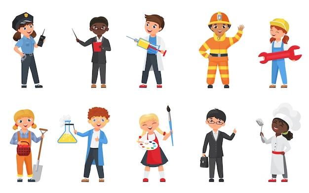 Bambini in diverse professioni e pose illustrazione vettoriale set. Vettore Premium