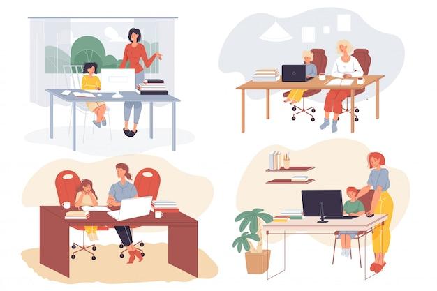 Bambini che imparano a distanza con i genitori Vettore Premium