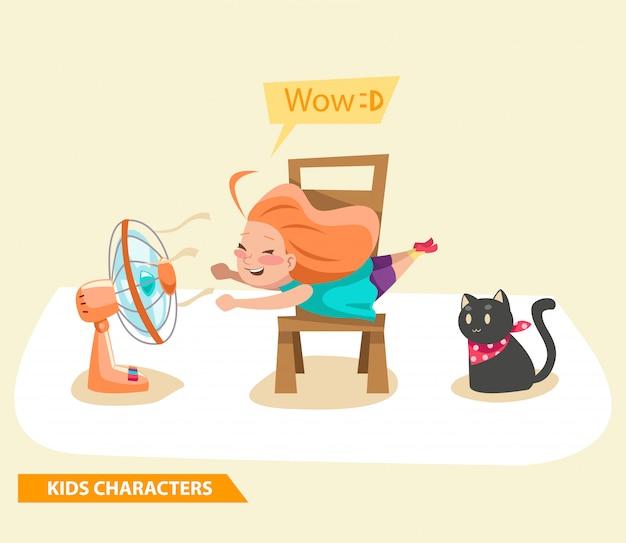 Ragazze bambini che giocano con il design di personaggi fan e gatto Vettore Premium