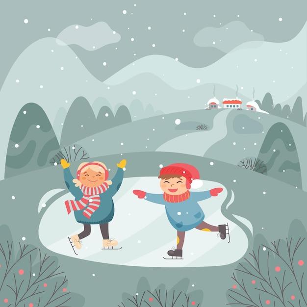 I bambini si divertono nella scena della neve Vettore Premium