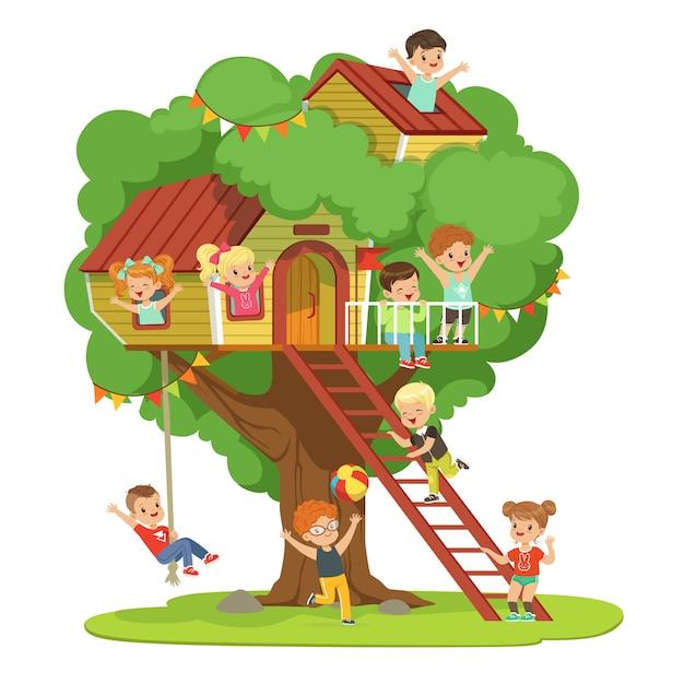 Bambini che si divertono nella casa sull'albero, parco giochi per bambini con altalena e scaletta illustrazione dettagliata colorata su sfondo bianco Vettore Premium
