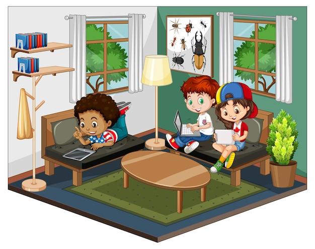 Bambini nel soggiorno in scena a tema verde su sfondo bianco Vettore Premium