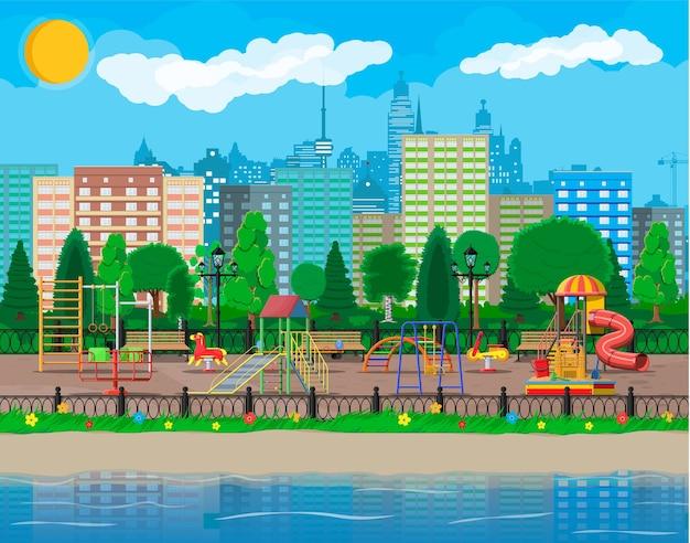 Panorama di asilo nido parco giochi per bambini. divertimento urbano per bambini. Vettore Premium
