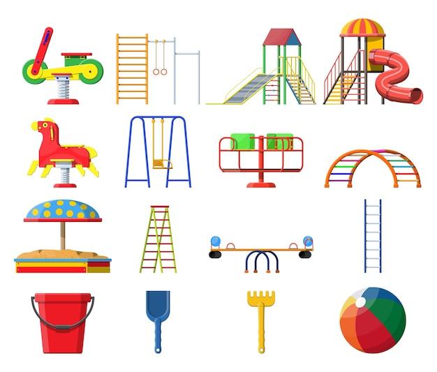 Set di asilo per bambini parco giochi. divertimento urbano per bambini. Vettore Premium