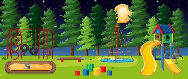 Parco giochi per bambini nel parco con la grande luna nel cielo di notte in stile cartone animato Vettore Premium