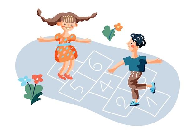 Bambini che giocano a campana gioco illustrazione, ragazzino e ragazza al cortile dell'asilo, amici preadolescenti all'aperto personaggi dei cartoni animati, hop scotch court disegnato con elemento di gesso Vettore Premium