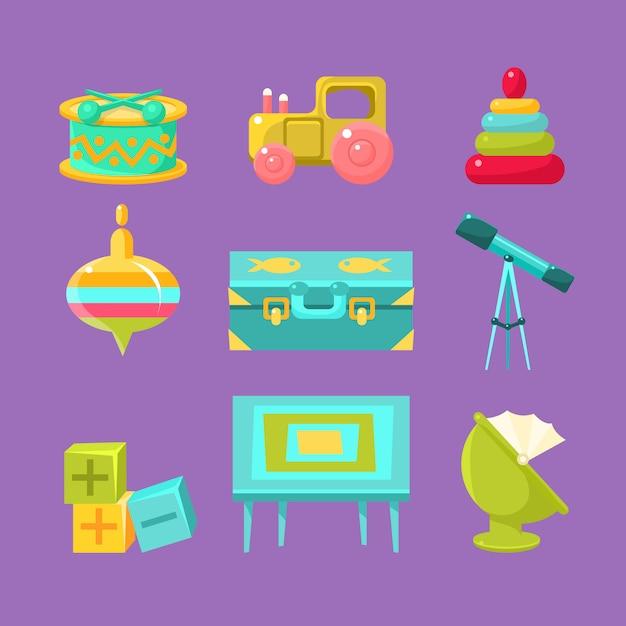 Collezione di oggetti per camerette Vettore Premium