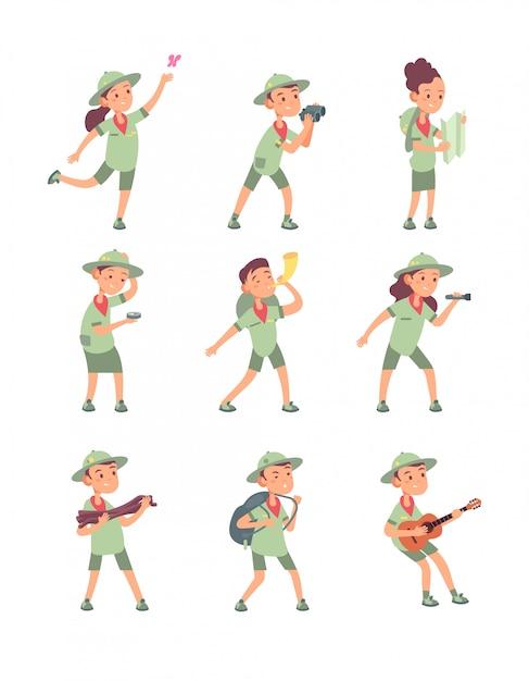 Bambini in costumi da scout. i giovani scout ragazzi e ragazze hanno avventure nel campeggio estivo. personaggi dei cartoni animati bambini carino Vettore Premium