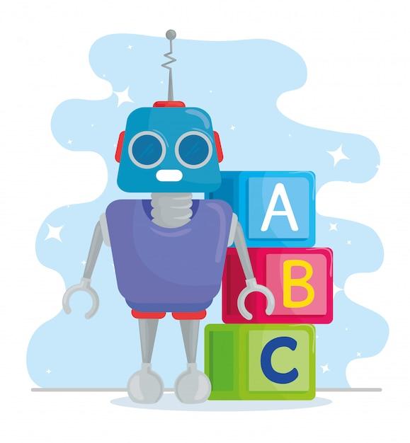 Giocattoli per bambini, cubi di alfabeto con robot Vettore Premium