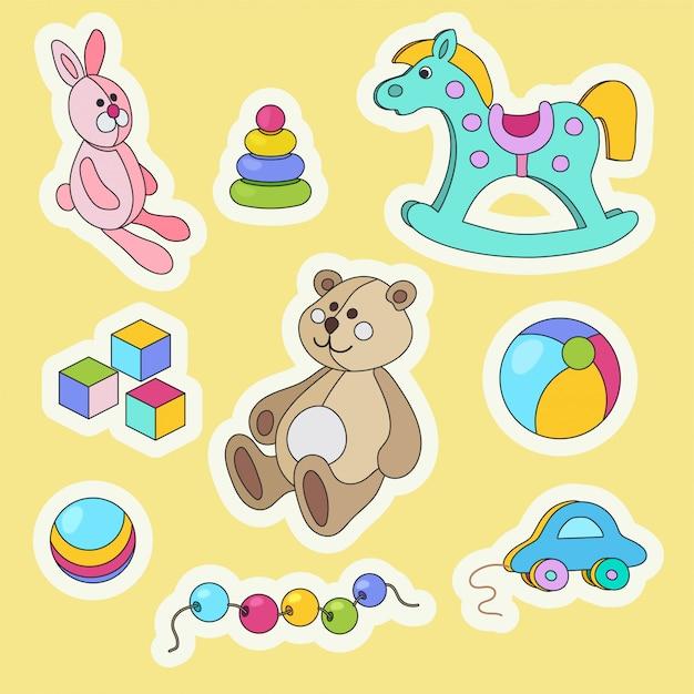 Set di adesivi colorati del fumetto di giocattoli per bambini. Vettore Premium