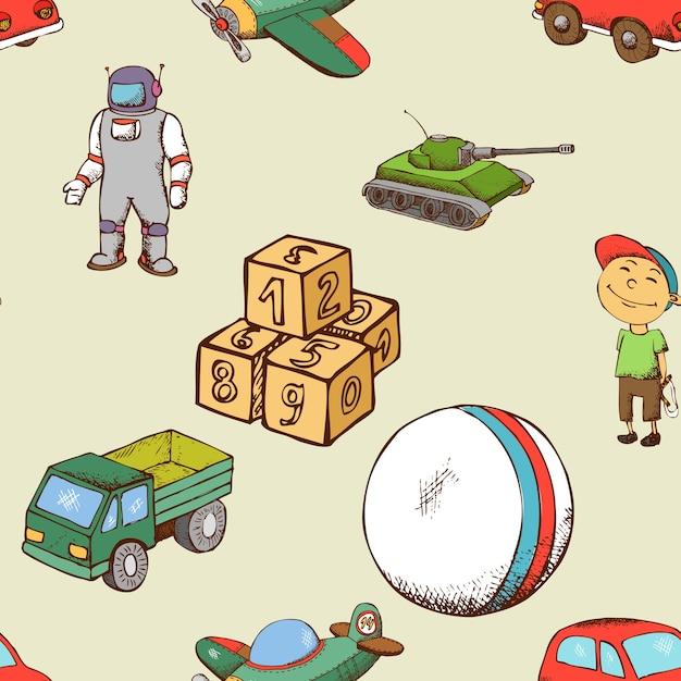Modello senza cuciture di giocattoli per bambini. bambino di sfondo con palla e auto. Vettore Premium