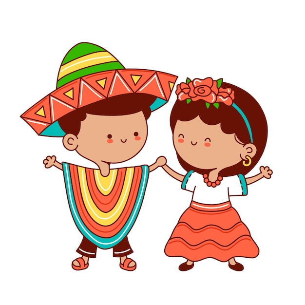 Bambini in costume messicano tradizionale. icona dell'illustrazione del carattere di kawaii del fumetto di linea piatta di vettore. isolato. concetto messicano di ragazzo e ragazza Vettore Premium