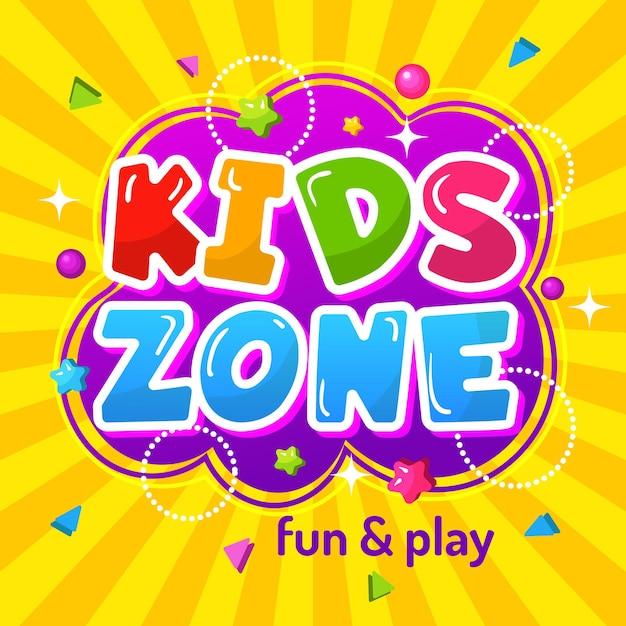 Zona bambini. emblema per bambini felici di poster di area di gioco colorato promozionale per modello di parco giochi. Vettore Premium