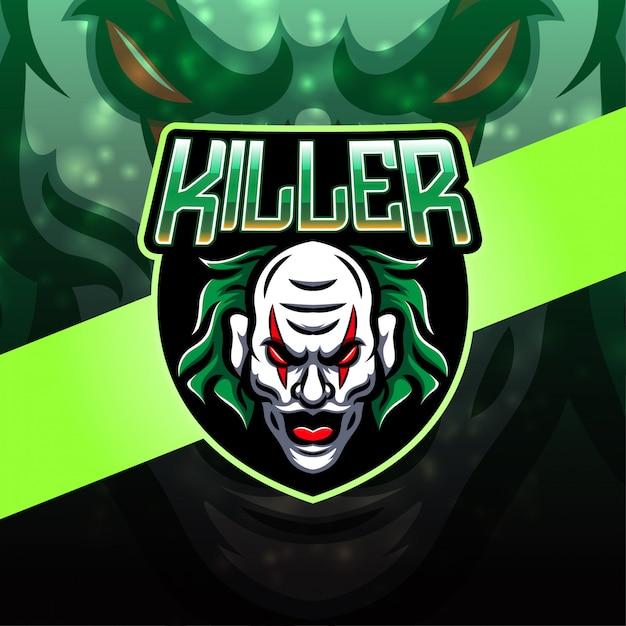 Killer clown design del logo mascotte esport Vettore Premium