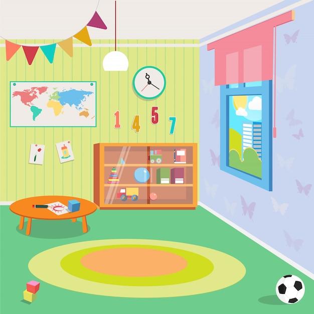 Kindergarten room interior with toys Vettore Premium