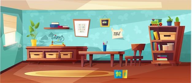 Illustrazione moderna della stanza di asilo con mobilia, luce solare dalla finestra e giocattoli per i bambini. nursery per bambini, bambini piccoli. design in stile piatto. prescolare. Vettore Premium