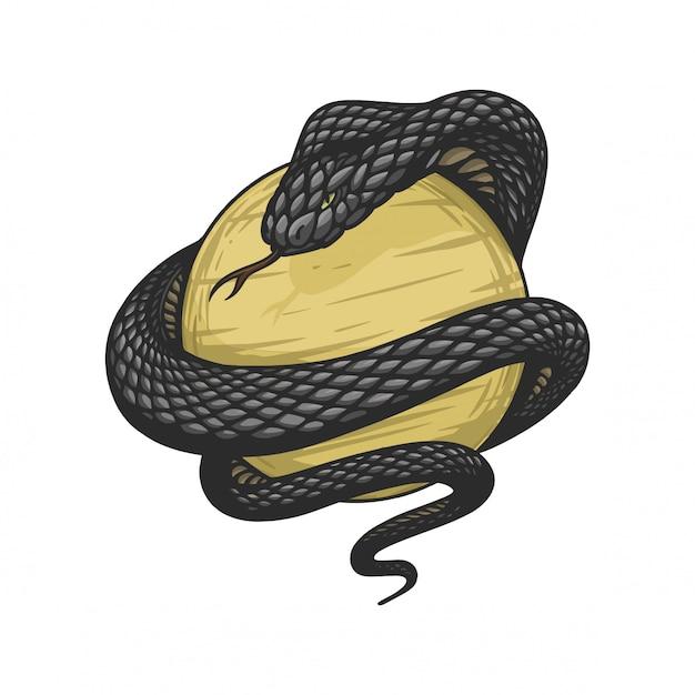 King cobra è avvolto attorno a una palla d'oro in stile vintage disegnato a mano Vettore Premium