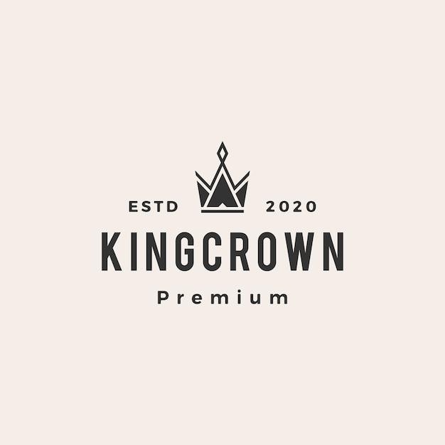 Illustrazione dell'icona di logo vintage di re corona hipster Vettore Premium