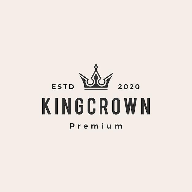Logo vintage di re corona Vettore Premium