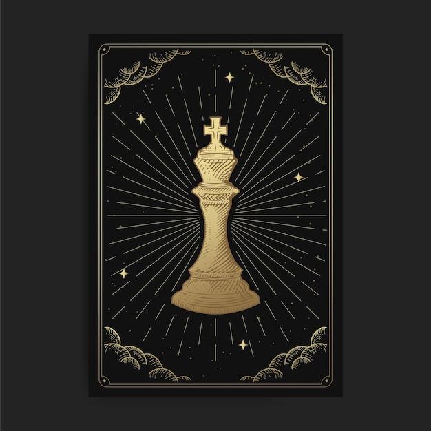 Re o imperatore. tarocchi magici occulti, lettore di tarocchi spirituale boho esoterico, astrologia delle carte magiche, disegno spiritua Vettore Premium