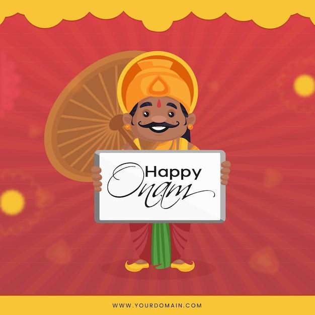 Re mahabali tiene in mano un ombrello e augura felice onam Vettore Premium