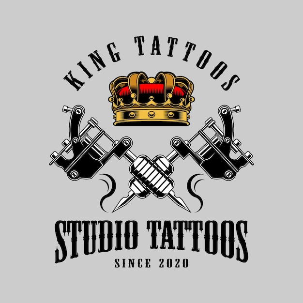 Tatuaggi di re Vettore Premium