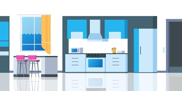 Interiore del fumetto della cucina. casa camera con tavolo frigo stoviglie forno cartoonic sala da pranzo appartamento. illustrazione del contatore della cucina Vettore Premium