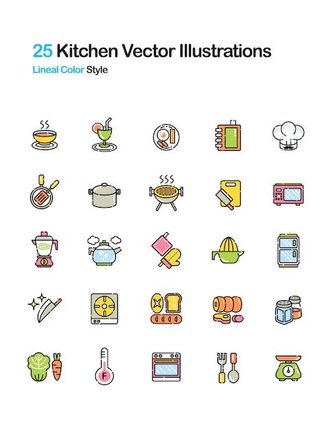 Illustrazione a colori di cucina Vettore Premium