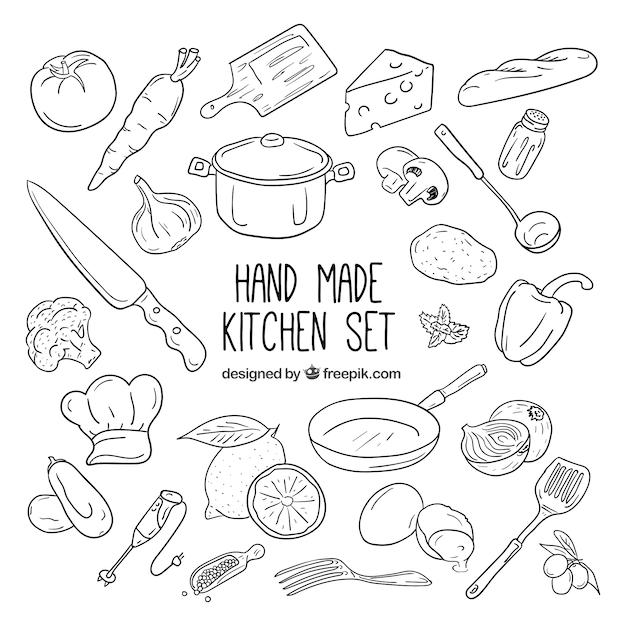 Collezione di elementi da cucina Vettore Premium