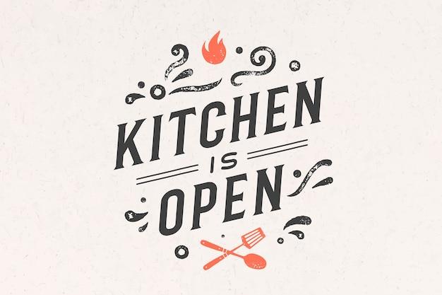 Cucina aperta. decorazione murale, poster, segno, citazione. poster per cucina Vettore Premium
