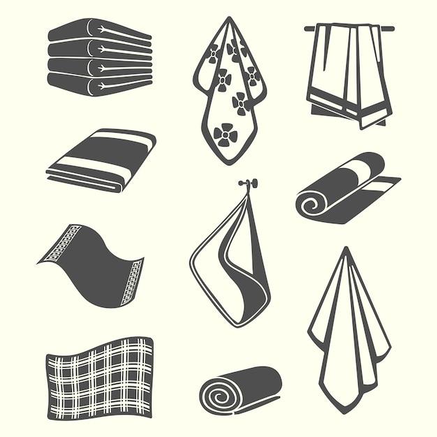 Asciugamani da cucina e servizio in camera, tovaglioli, illustrazione tessile isolato Vettore Premium