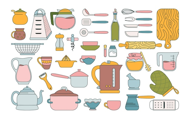 Set piatto di utensili da cucina. oggetti da collezione di utensili da cucina disegnati a mano Vettore Premium