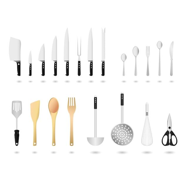Set di utensili da cucina. un set di utensili da cucina in. Vettore Premium