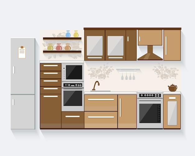 Cucina con mobili. illustrazione moderna Vettore Premium