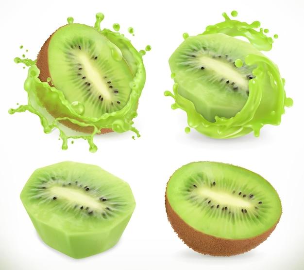 Succo di frutta kiwi. frutta fresca e splash, icona realistica Vettore Premium