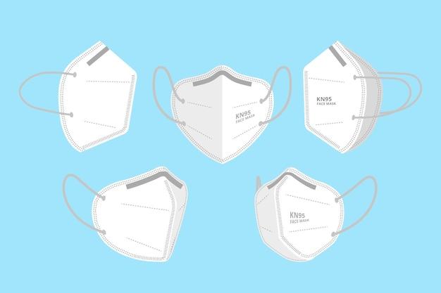Maschera facciale kn95 in diverse prospettive Vettore Premium
