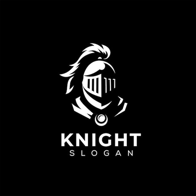 Modello di logo della testa del cavaliere Vettore Premium