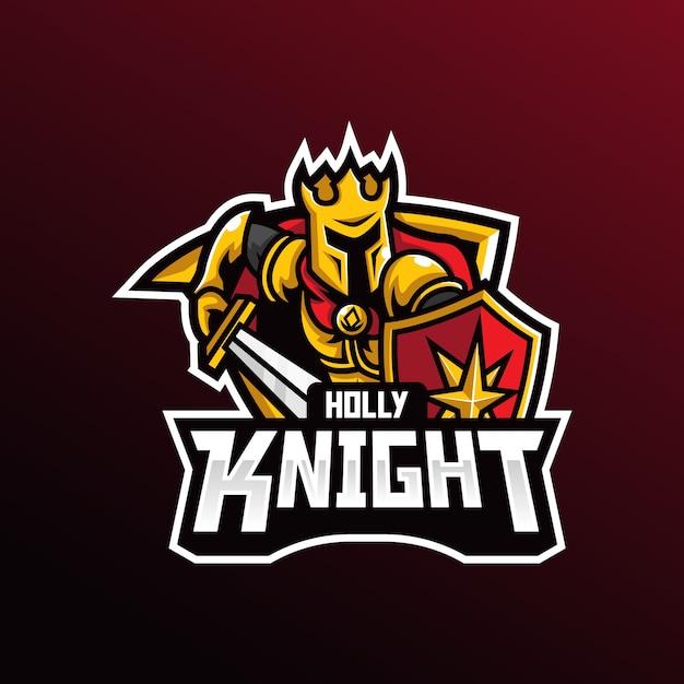 Modello di illustrazione logo knight mascot esport logo. Vettore Premium
