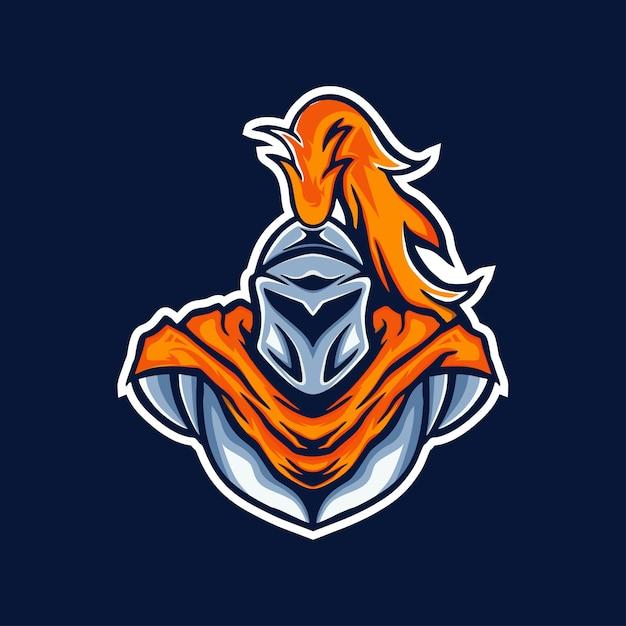 Logo di gioco mascotte cavaliere Vettore Premium