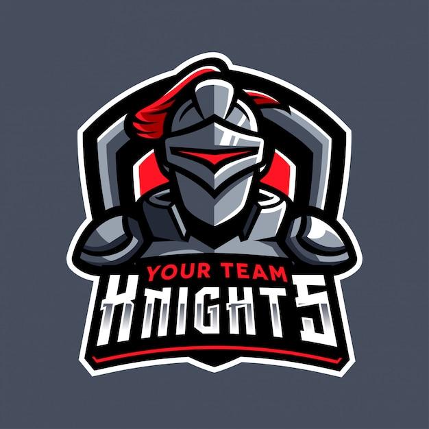 Logo sportivo del cavaliere Vettore Premium